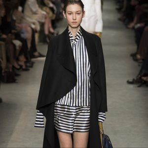 Burberry Navy White Silk Stripe Mini Shirt Dress